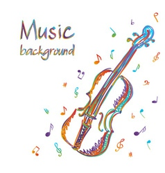 Violin music background with notes vector