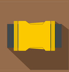 Yellow side release buckle icon flat style vector