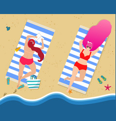 young girls in red sexy bikini relaxing on beach vector image