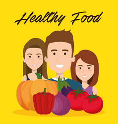 young people with vegetables vector image