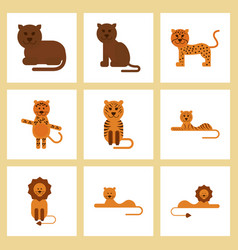 assembly flat icons nature cartoon tiger lioness vector image