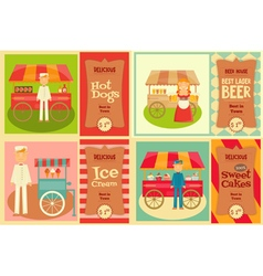 Food Cart with Vendor vector image