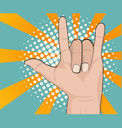 hand with love sign comic book vector image