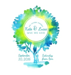 Invitation with watercolor tree vector