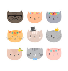 set of cute cartoon cats funny animals different vector image vector image