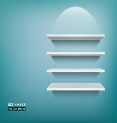 3D Empty white ehelf for exhibit on blue vector image vector image
