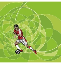 Abstract soccer player on the green background vector image vector image