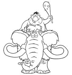 Happy Caveman on Mammoth Cartoon vector image vector image