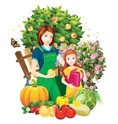 people in the garden vector image