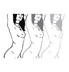 Sketch of three naked woman torso vector image