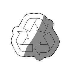 Sticker silhouette recycling symbol with arrows vector