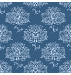 Blue paisley flowers seamless pattern vector image