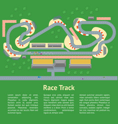cartoon race track with cars card poster vector image vector image