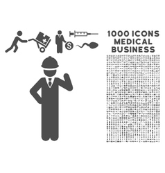 Engineer Icon with 1000 Medical Business Symbols vector image vector image