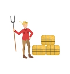 Guy with farm fork and three hay stacks vector