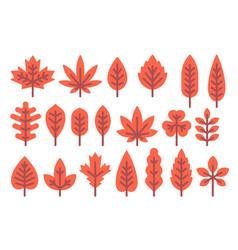Flat design autumn leaf shapes set vector