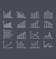 Graphs and Charts Line Icons vector image vector image