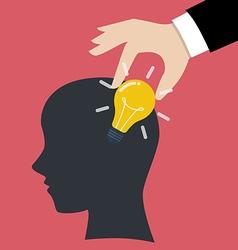 Hand stealing idea light bulbs from head vector