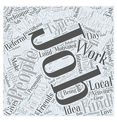 JH knowing the best job for you Word Cloud Concept vector image vector image