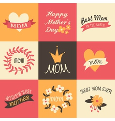 mothers day vintage design greeting cards set vector image vector image
