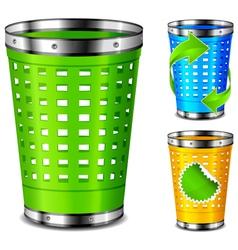 plastic trash basket vector image