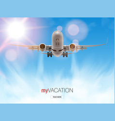 3d airplane take off flying above clouds vector