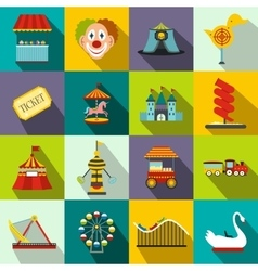 Amusement park flat icons set vector image