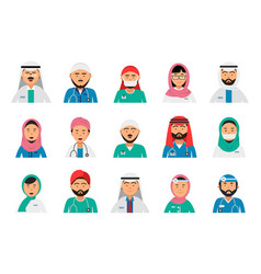 arabic doctors avatars dentist nurses male and vector image