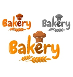 Bakery emblem or logo made of baking in cartoon vector
