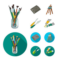 Bank with brushes a drawing board an easel with vector