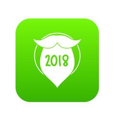 beard icon green vector image