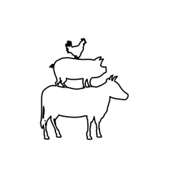 Beef chicken and pork vector