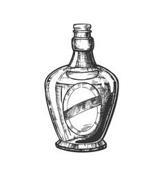 Blown scotch bottle with style cork cap vector