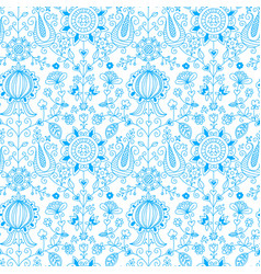 blue and white floral folk seamless pattern vector image