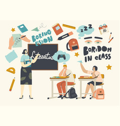 Boredom in class education concept little boring vector