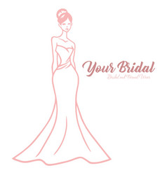 Bridal boutique logo elegant wedding gown vector