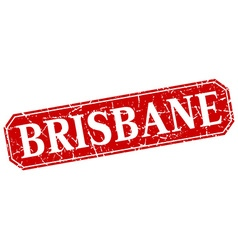 Brisbane red square grunge retro style sign vector