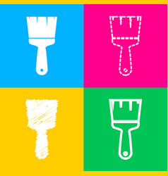 brush sign four styles of icon on vector image