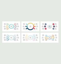 Business infographics organization charts with 6 vector