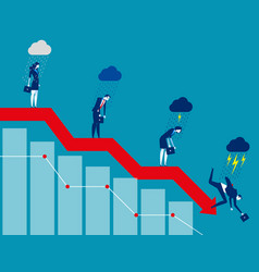 Business on falling down chart concept business vector