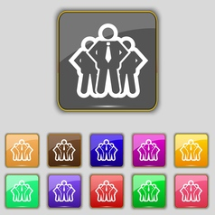 business team icon sign Set with eleven colored vector image