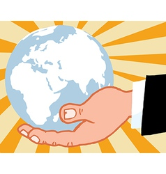 Bussines Hand Holding Globe vector image