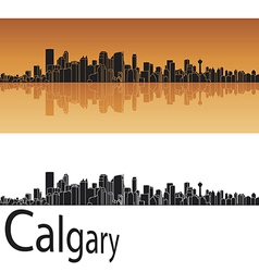 Calgary skyline in orange background vector