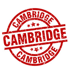 Cambridge red round grunge stamp vector