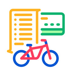 Card payment bicycle services icon outline vector