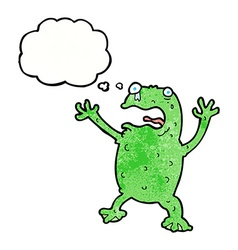 Cartoon frightened frog with thought bubble vector