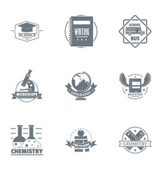 Chemical arrangement logo set simple style vector