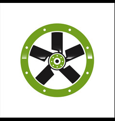 creative abstract wind turbine fan logo design vector image