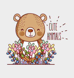 cute bear doodle cartoon vector image