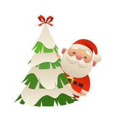 Cute cartoon santa claus behind christmas tree vector